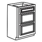 Drawer Base Cabinet 36 Inch - Savannah Sienna Glaze SSGDB36-3
