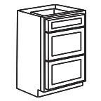 Drawer Base Cabinet 36 Inch - Shaker White SWDB36-3