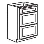 Drawer Base Cabinet 24 Inch - Shaker White SWDB24-3
