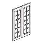 30 Inch Tall Glass Door Set for 24 Inch Wall Cabinet AWW2430GD - Antique White