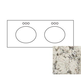 61x22 White Diamond Granite Top - Double Bowl
