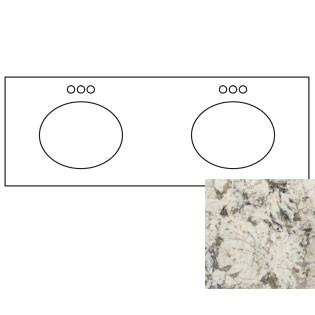 73x22 White Diamond Granite Top - Double Bowl