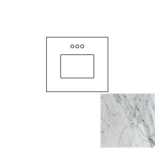 25x22 Carrara White Marble Vanity Top - Single Bowl
