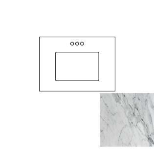 31x22 Carrara White Marble Vanity Top - Single Bowl