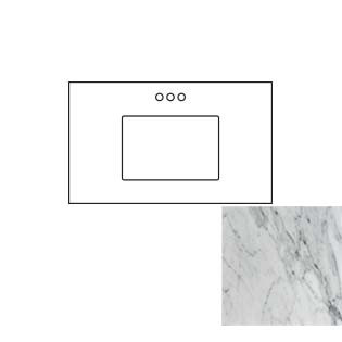 37x22 Carrara White Marble Vanity Top - Single Bowl