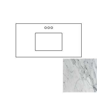 43x22 Carrara White Marble Vanity Top - Single Bowl