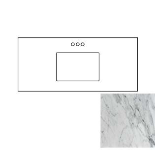 49x22 Carrara White Marble Vanity Top - Single Bowl