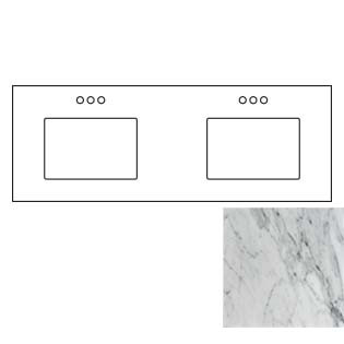 61x22 Carrara White Marble Vanity Top - Double Bowl