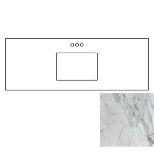 61x22 Carrara White Marble Vanity Top - Single Bowl