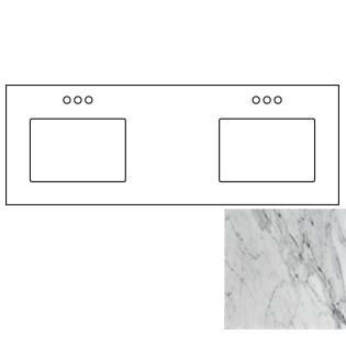 73x22 Carrara White Marble Vanity Top - Double Bowl