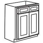 Sink Base Cabinet 42 Inch - Unfinished Shaker Maple UNFSB42