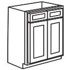 Sink Base Cabinet 36 Inch - Unfinished Shaker Maple UNFSB36