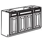 Sink Base Cabinet 60 Inch - Charleston Coffee Glaze CCGSB60