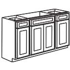 Sink Base Cabinet 60 Inch - Shaker Gray SGSB60