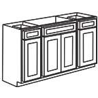 Sink Base Cabinet 60 Inch - Unfinished Shaker Maple UNFSB60