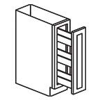 Pull Out Spice Rack Base Cabinet 6 Inch - Shaker White SWTB06