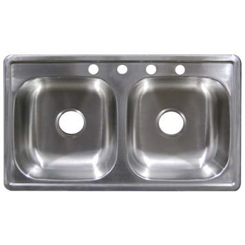 Stainless Steel Top Mount Sink - Double Bowl SS33196