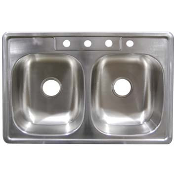 Stainless Steel Top Mount Sink - Double Bowl SS33227