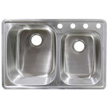 Stainless Steel Top Mount Sink - 60/40 Double Bowl SS332297