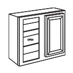 Wall Blind Corner Cabinet 30 Inch - Antique White AWWBC2430
