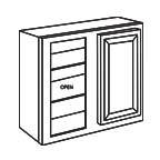 Wall Blind Corner Cabinet 30 Inch - Savannah Sienna Glaze SSGWBC2430
