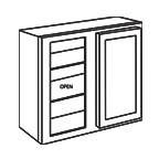 Wall Blind Corner Cabinet 30 Inch - Unfinished Shaker Maple UNFWBC2430