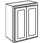 Wall Cabinet 33 by 30 Inch - Shaker White SWW3330