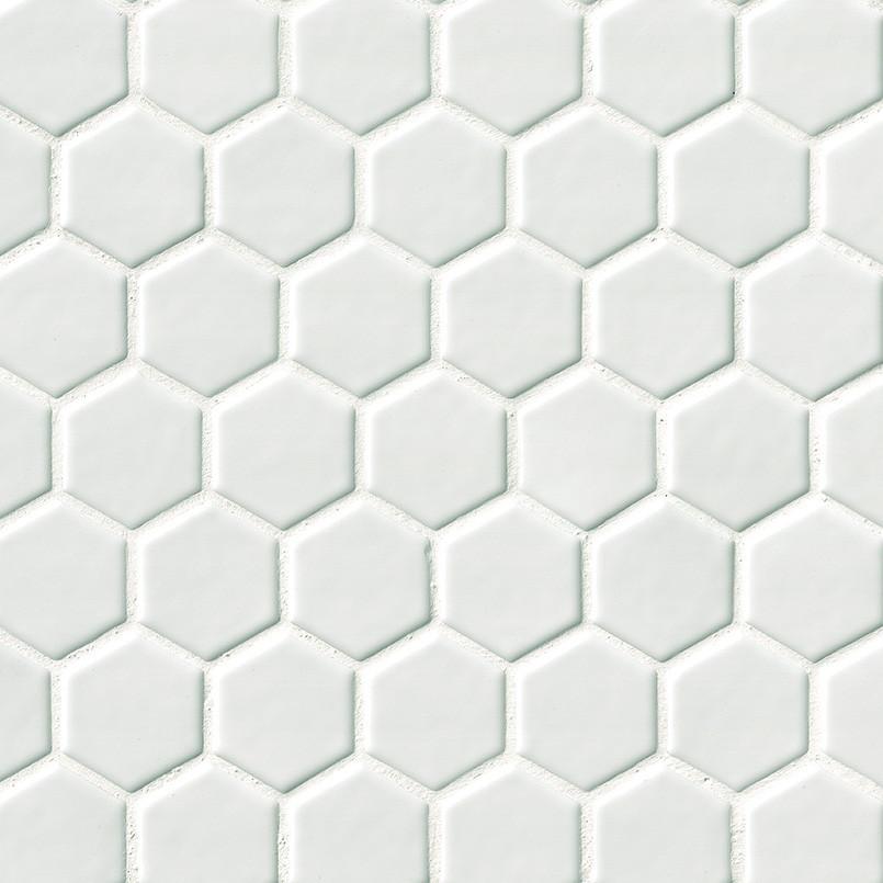 Whisper White 8mm Hexagon Tile