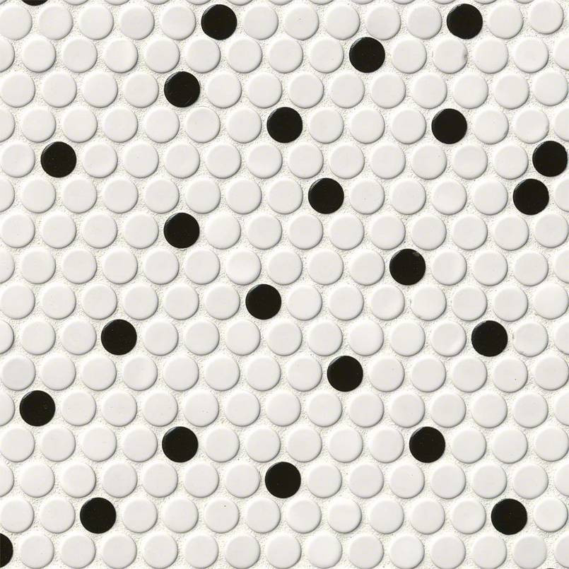 White and Black Penny Round Glossy Tile
