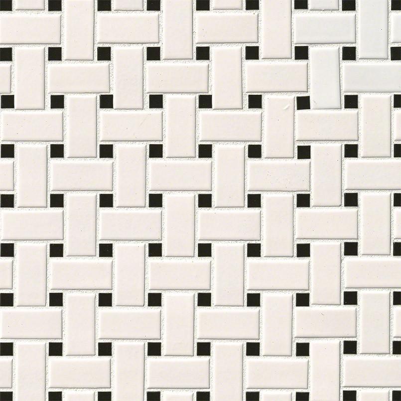 White and Black Basket Weave Mosaic Tile