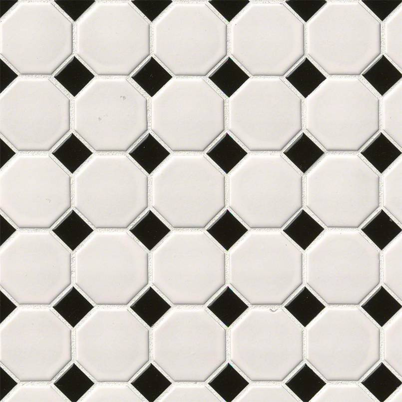 White and Black Matte Octagon Tile