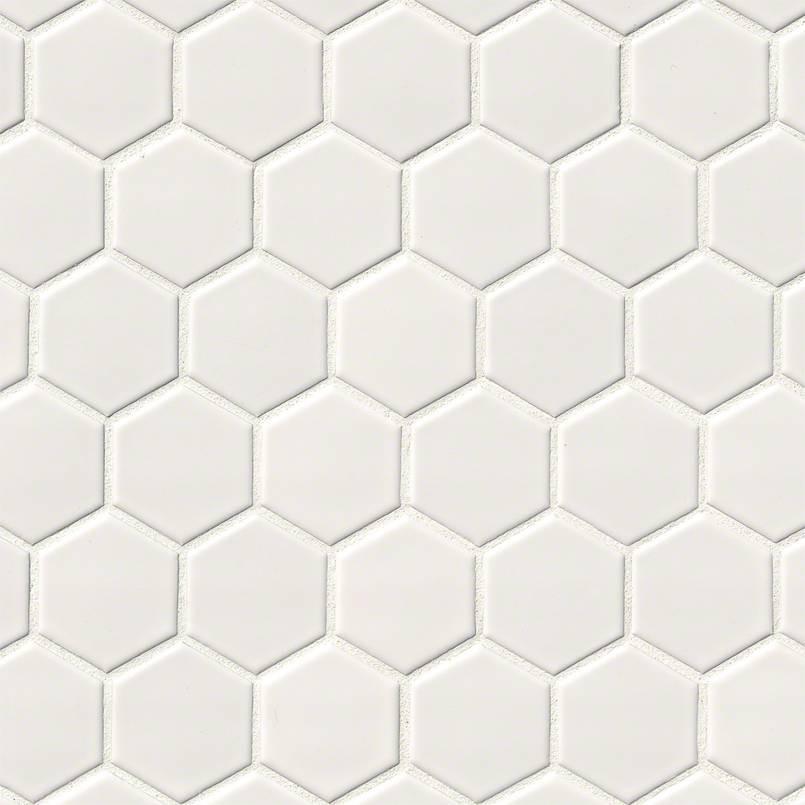 Glossy White 2x2 Hexagon Mosaic Tile
