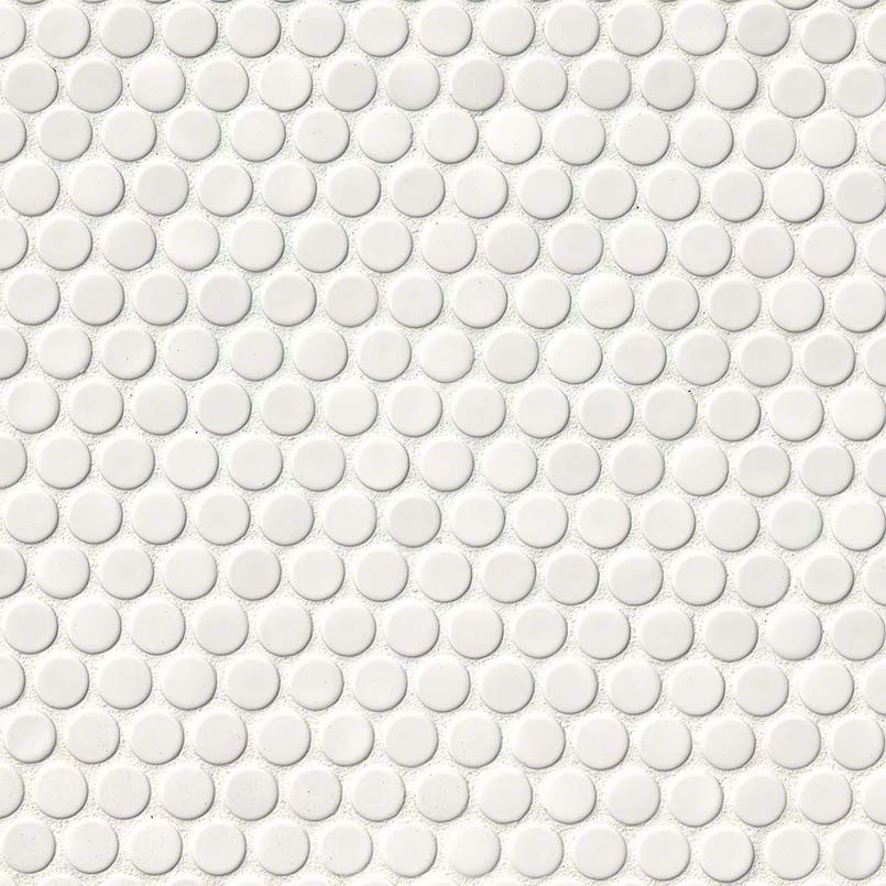 White Penny Round Glossy Tile