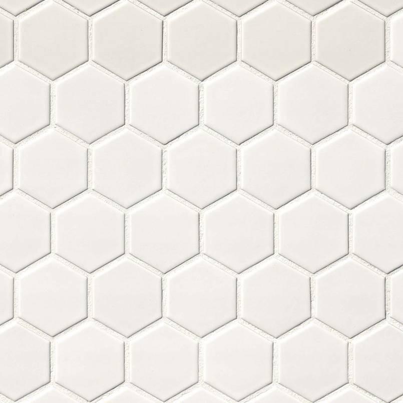 Matte White 2x2 Hexagon Mosaic Tile