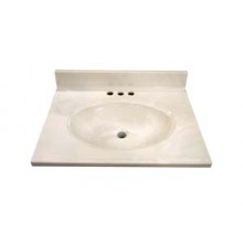 "19"" Cultured Marble Vanity Tops - White Swirl on White"